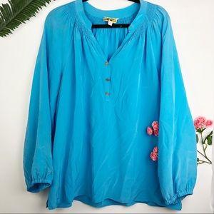 Lilly Pulitzer Elsa Solid blue silk top